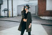 Street Style - Girl Wearing Black Hat and Sunglasses Standing on the Street