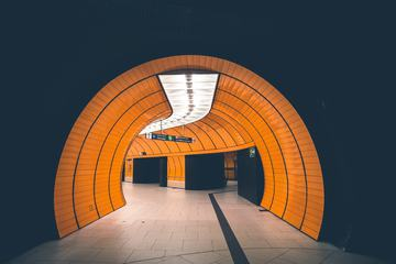 Orange Tunnel in Munich Metro Station