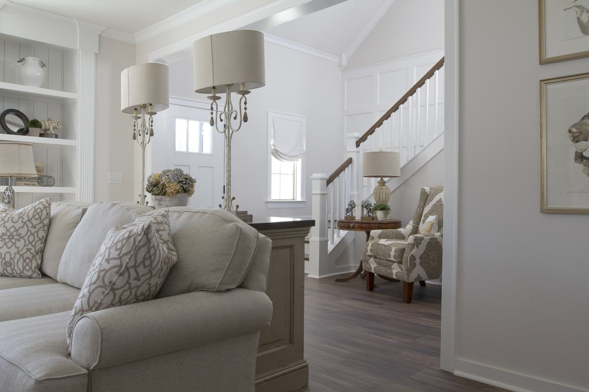 free photo white classic living room design