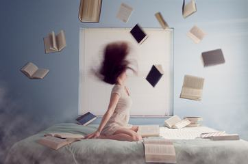 Young women Madness, Flying Books over the Bed
