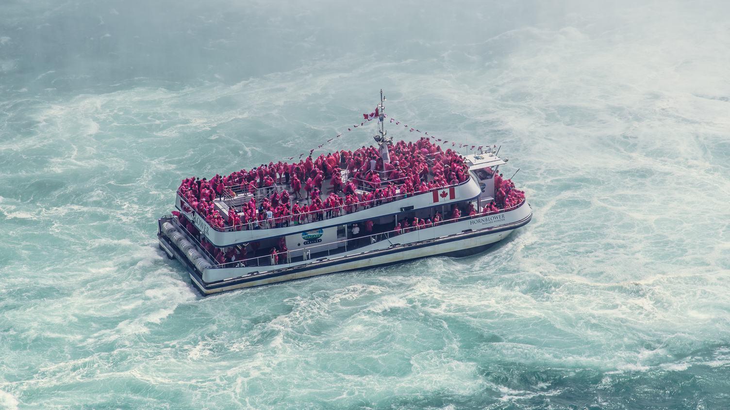 Niagara Trip - Boat Full of People Wearing Red Raincoats