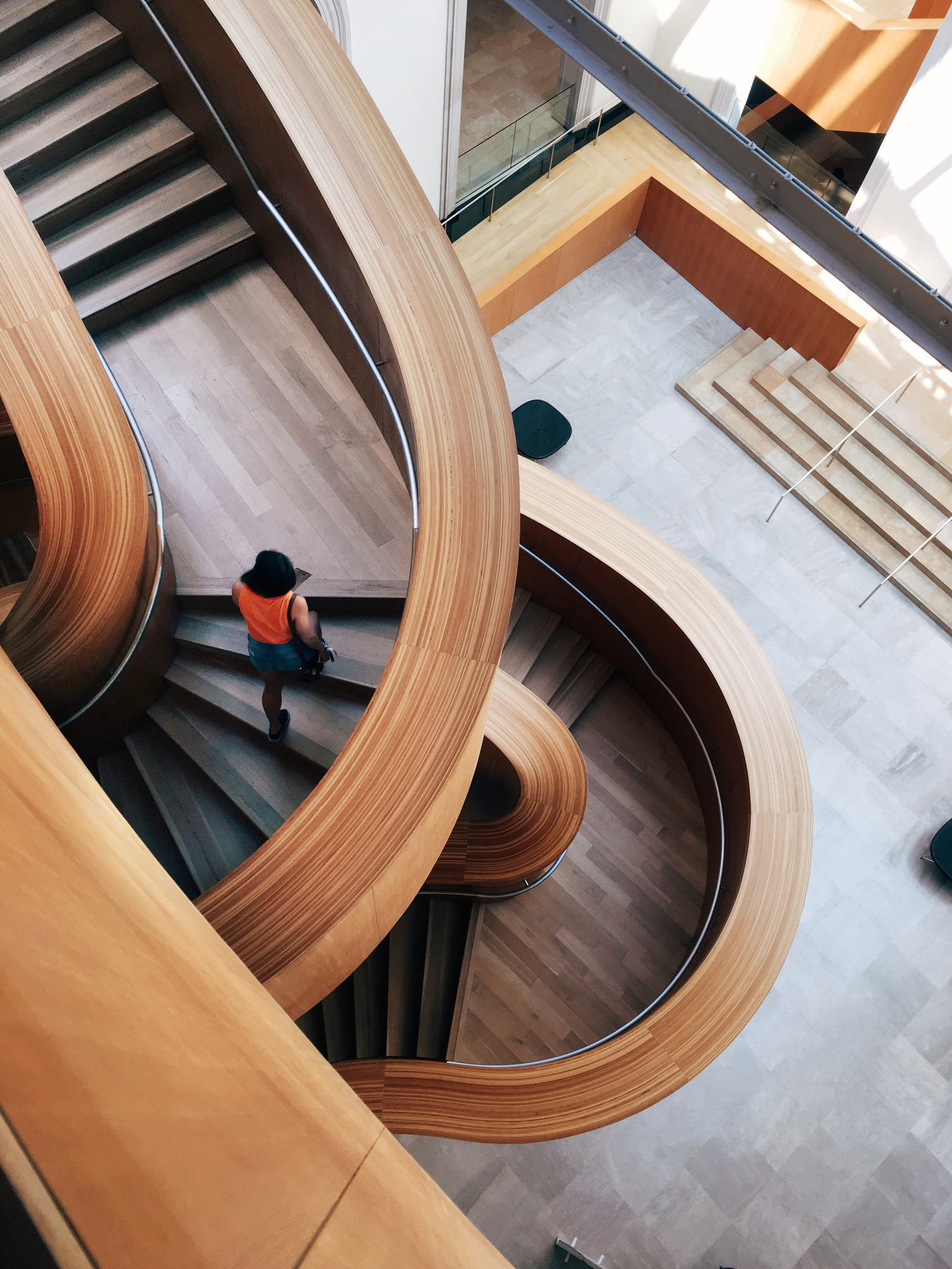 Curly Wooden Stairs Interior Design