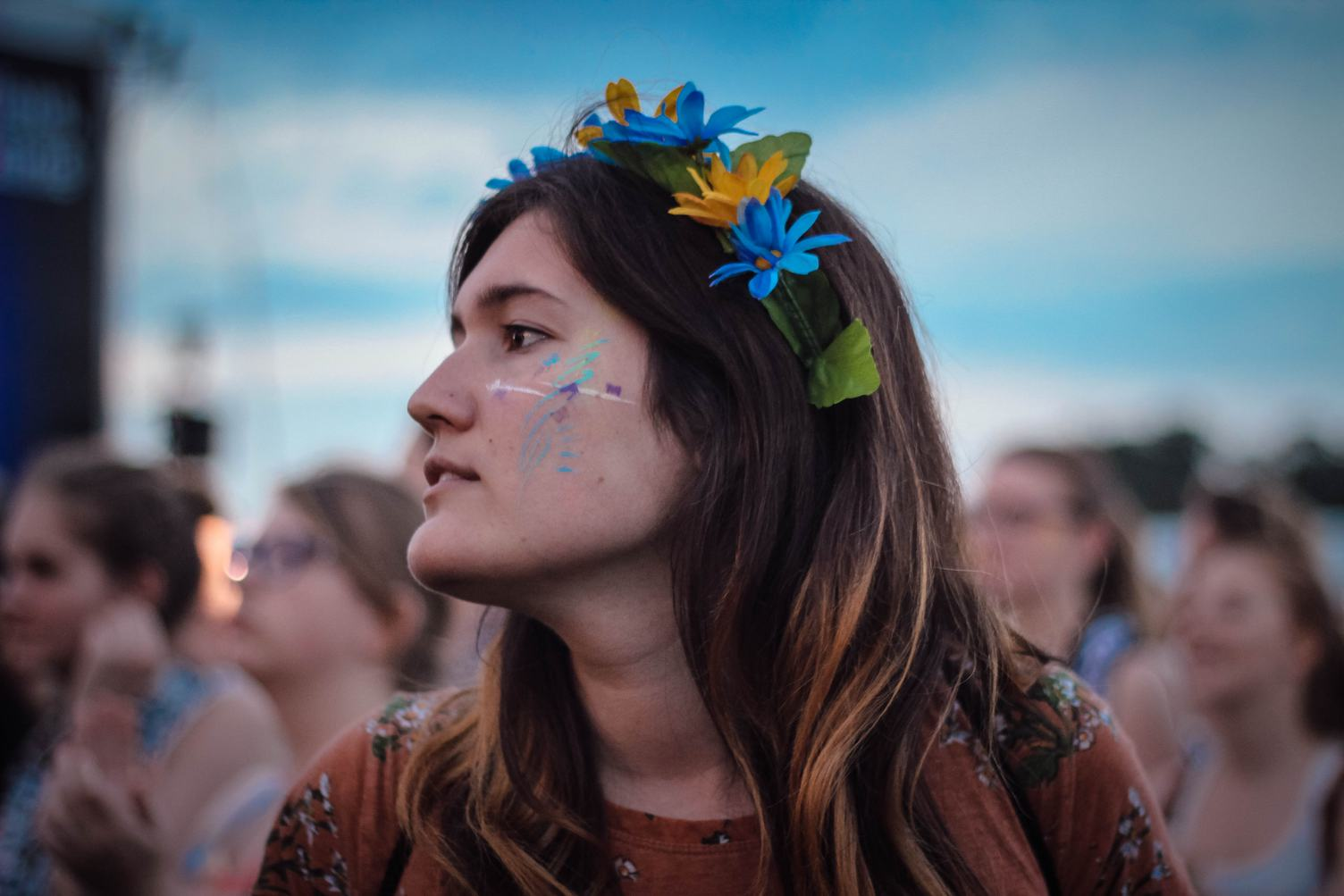 Profile Portrait of Young Hippie Girl