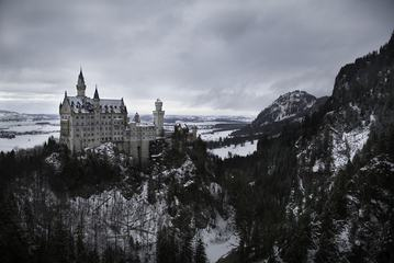 Neuschwanstein Castle in a Winter Time