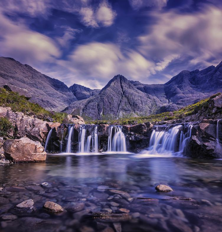 Long Exposure Waterfall in Mountains