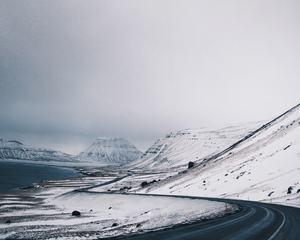 Winter Winding Road Through the Mountainous Wilderness