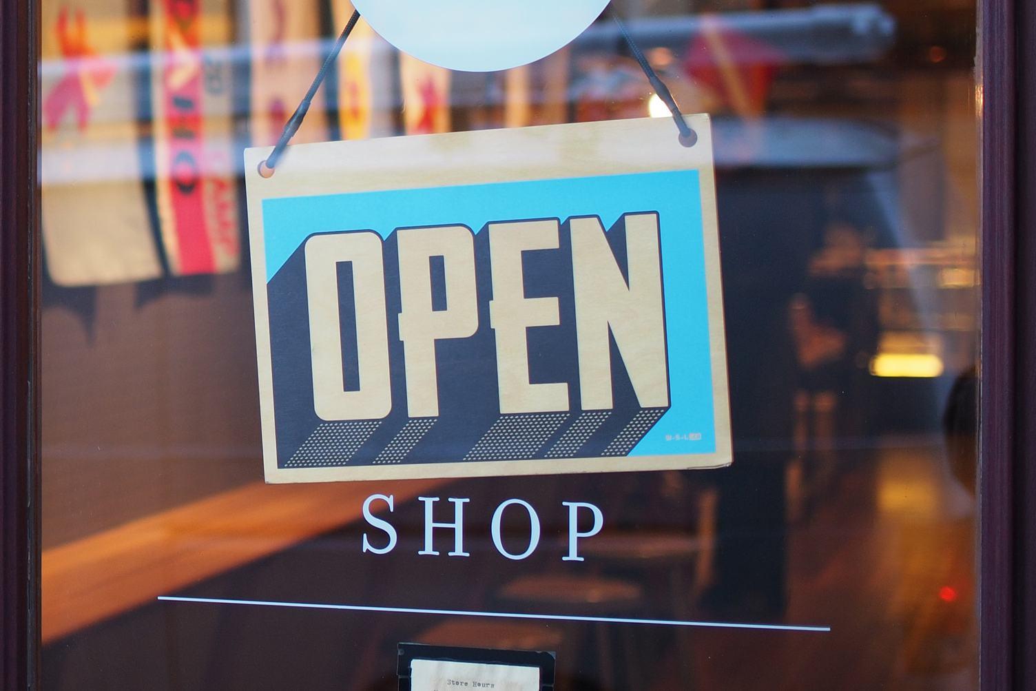 Shop Glass Door with Sign Open
