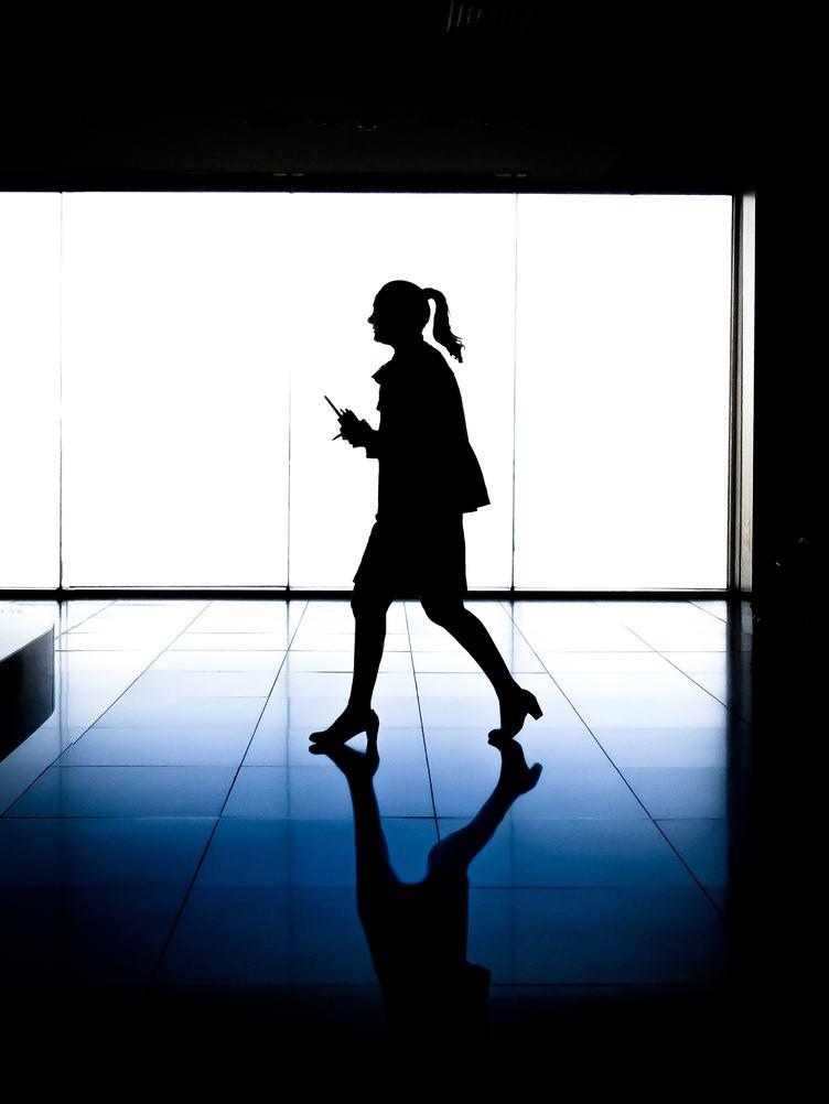 Walking Woman Profile Silhouette