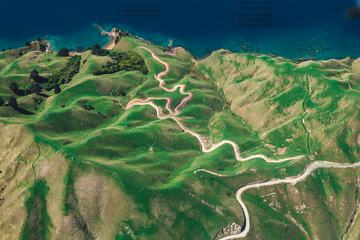 Aerial View Curved Path through the Hills