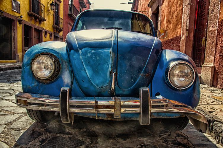 HDR of Old Blue Volkswagen Beetle