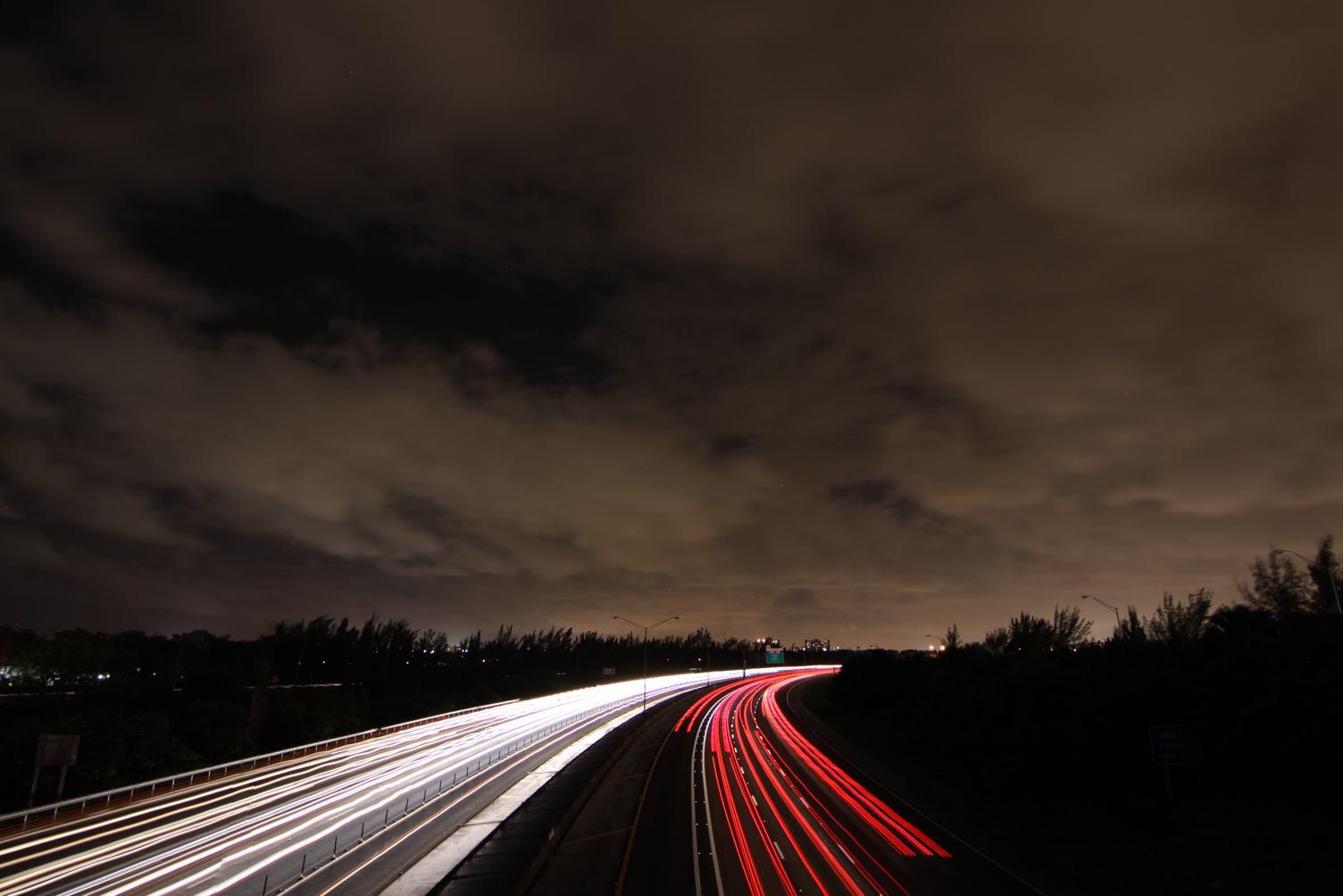 Long Exposure View of Traffic Lanes