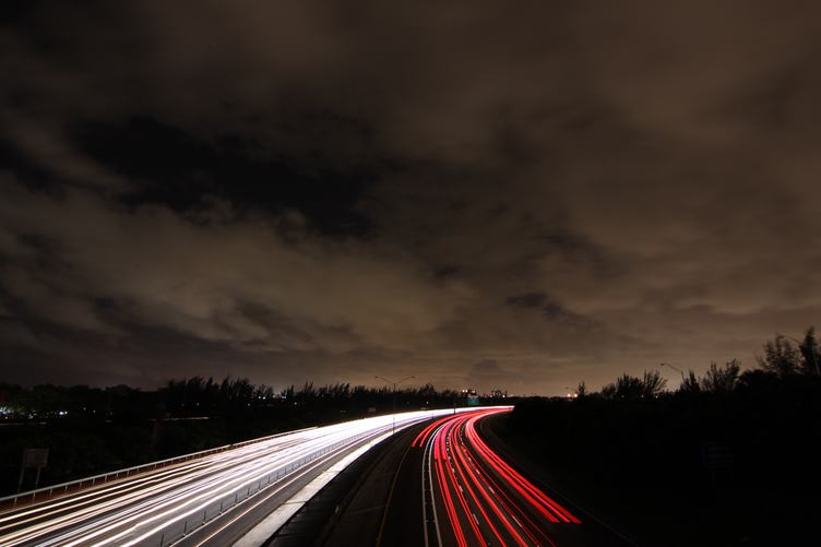 Long Exposure View of Traffic Lanes