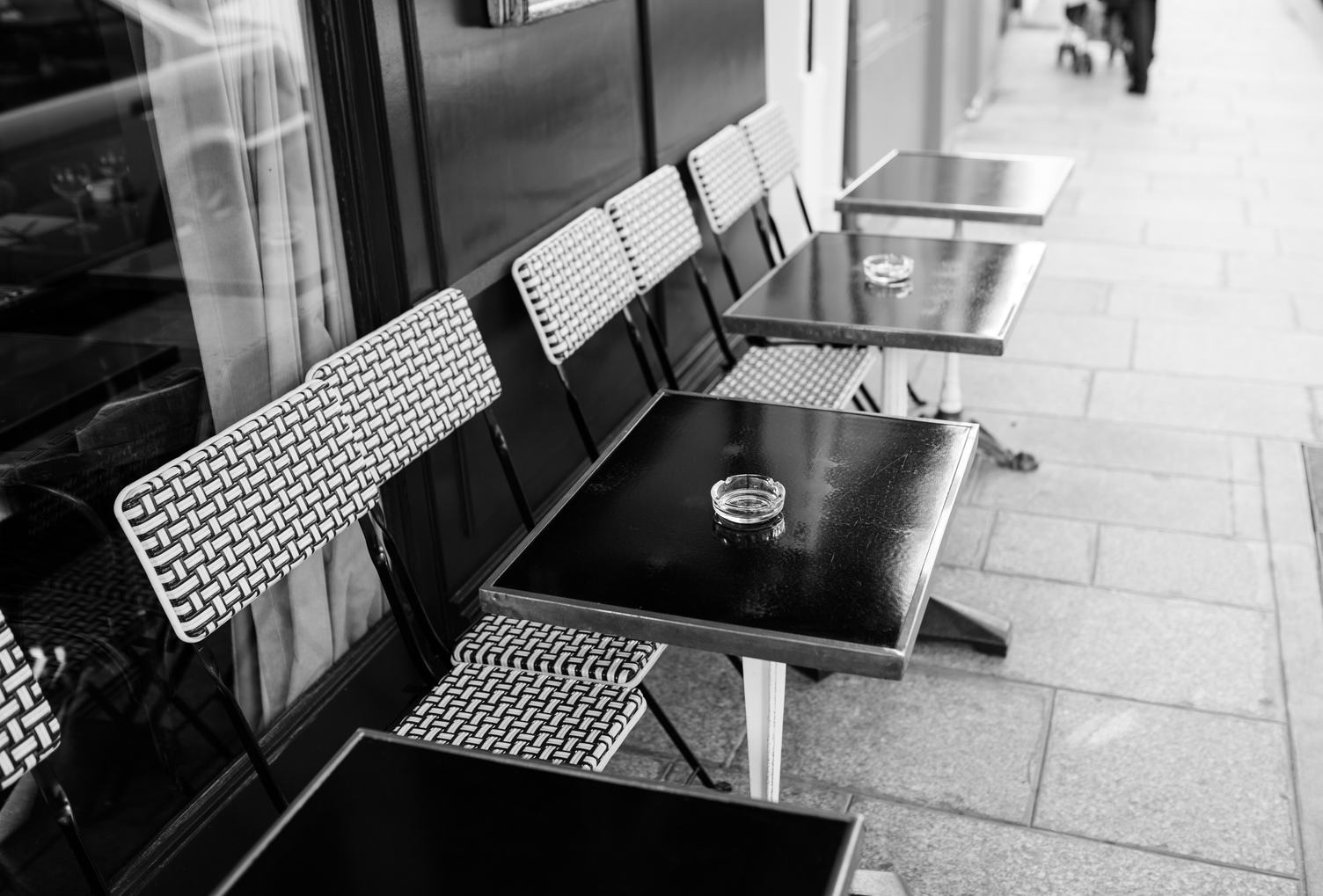 Cafe Terrace with a Row of Retro Tables
