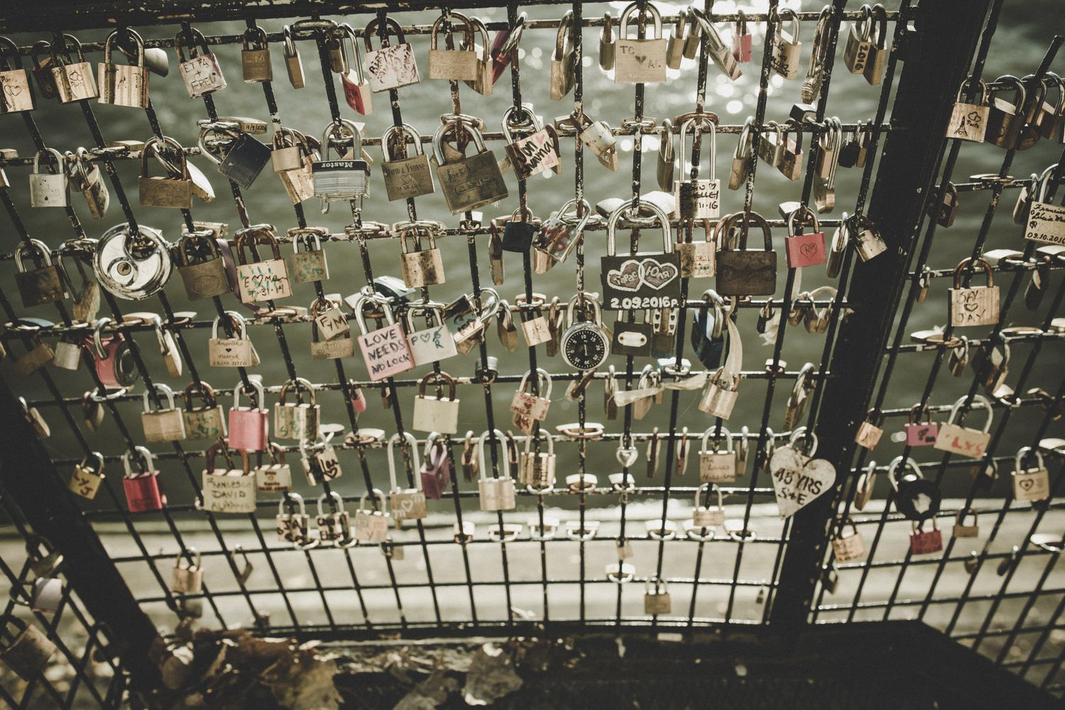 Love Symbolising Padlocks Attached to the Bridge Barrier
