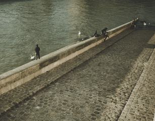 Pedestrians on the Paved Embankment