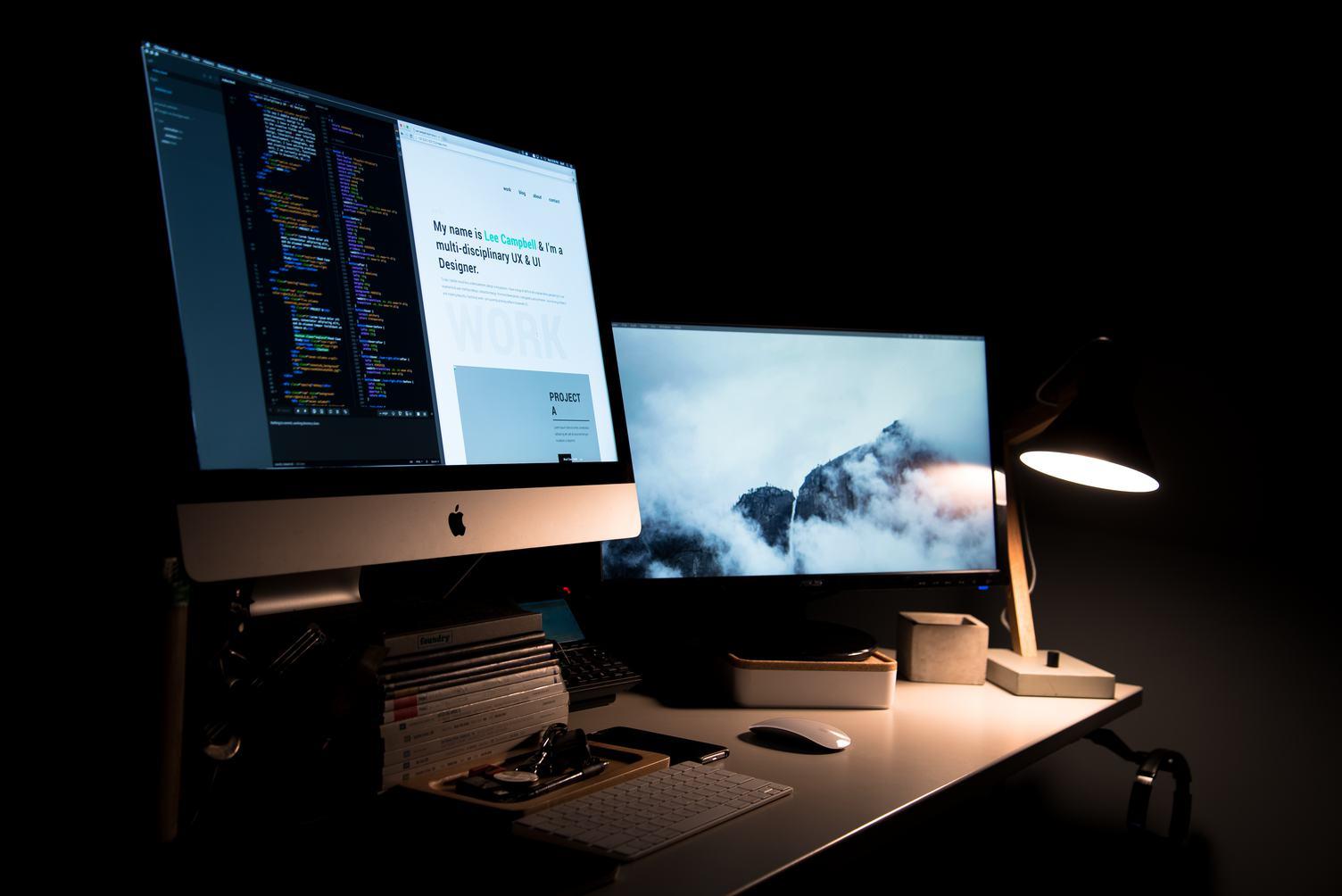 Designing on iMac in a Dark Office