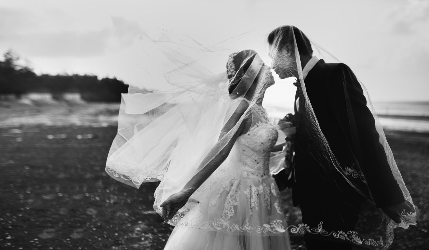 Bride and Groom Kissing under the Veil
