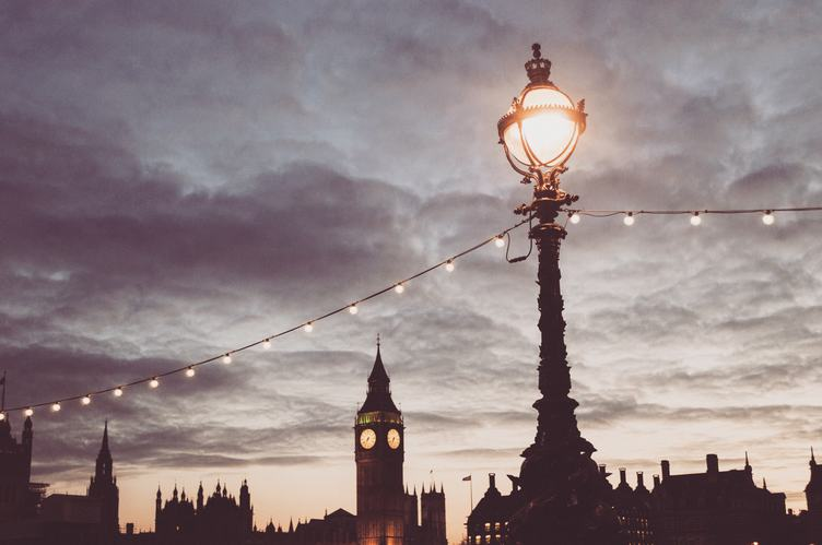 Sunset over Big Ben and London Buildings Silhouettes