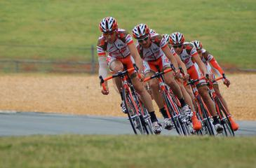 Team of Racing Cyclists During Training