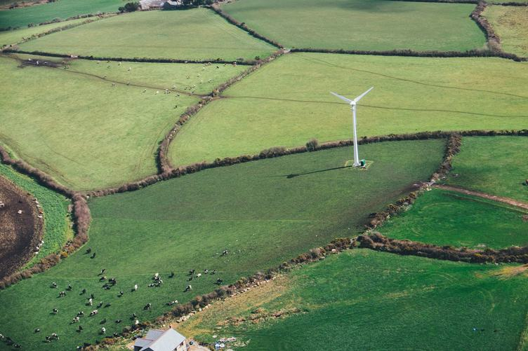 Aerial View over Rural Landscape