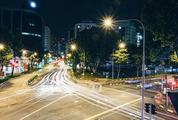 Long Exposure View over a City Intersection