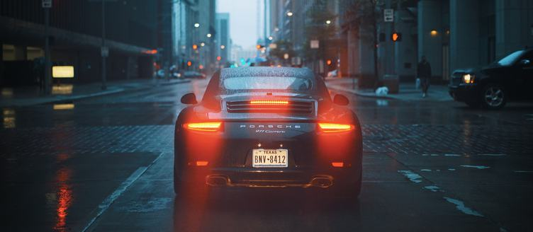 Porsche 911 with Back Lights On
