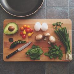 Food Preparation Vegetables on a Cutting Board