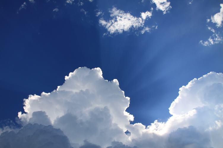 The Sunbeams Lighting through Clouds