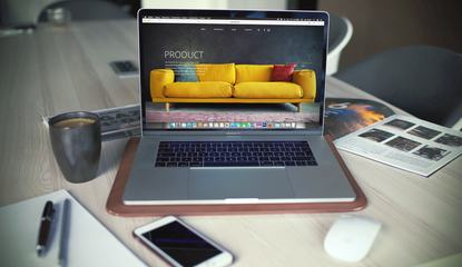 Designer's Desk with Web Design Concept