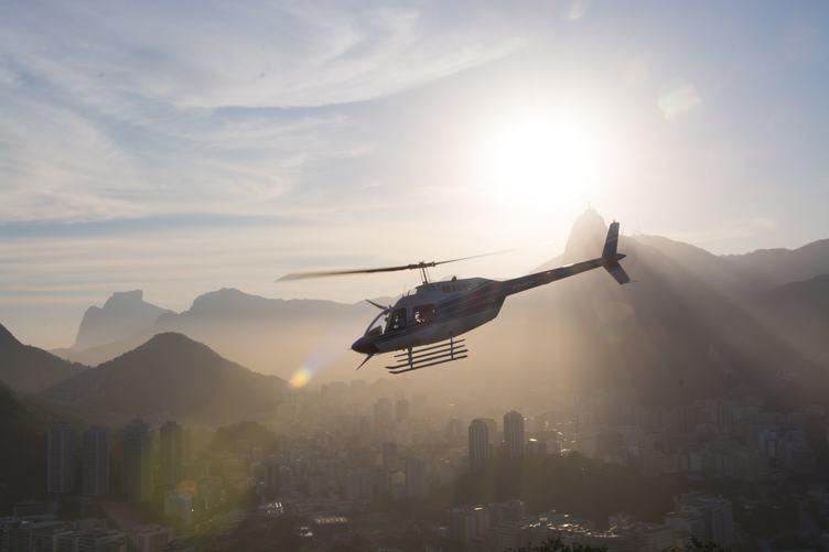 Helicopter Flying Above Rio De Janeiro Brazil