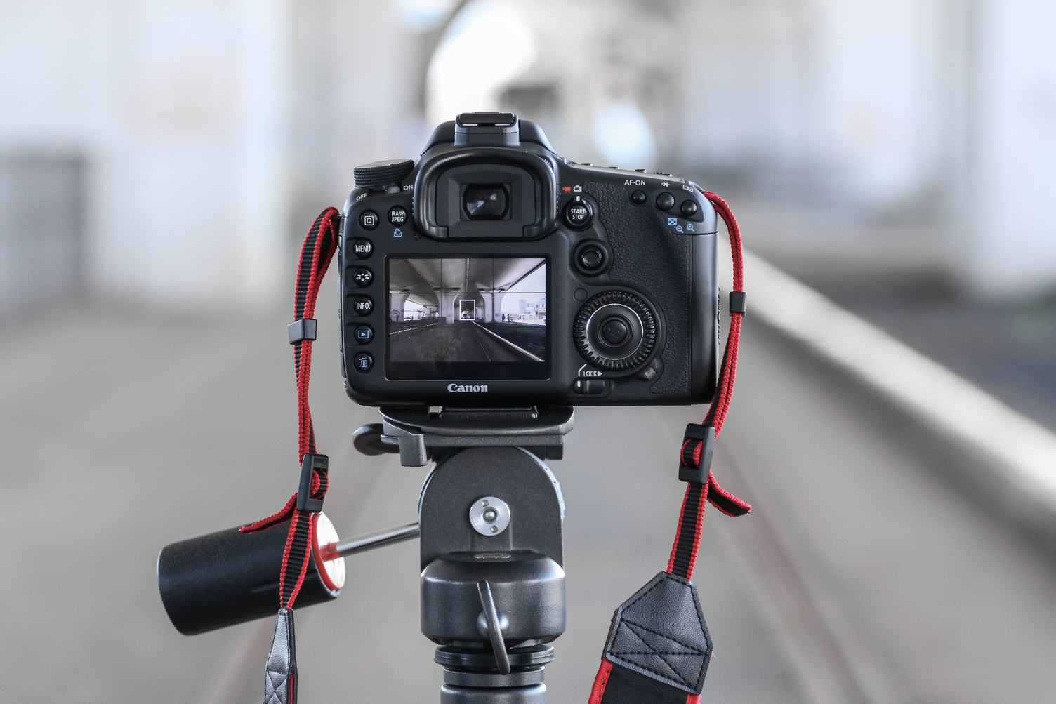 Rear DSLR Camera on Tripod with Blurred Background