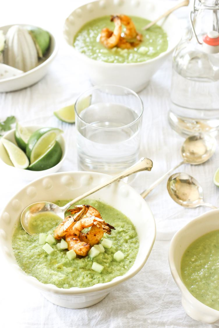 Green Soup with Shrimps in Elegant Bowls