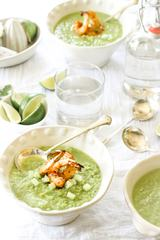 Green Soup with Shrimps in Elegant Bowls