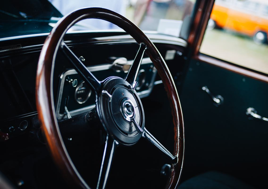 Free Photo: Antique Wooden Classic Car Steering Wheel
