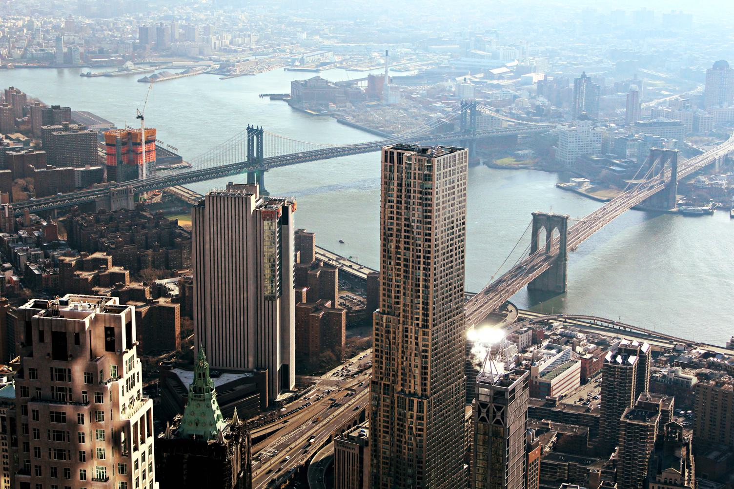 Manhattan Downtown Rooftop View on East River