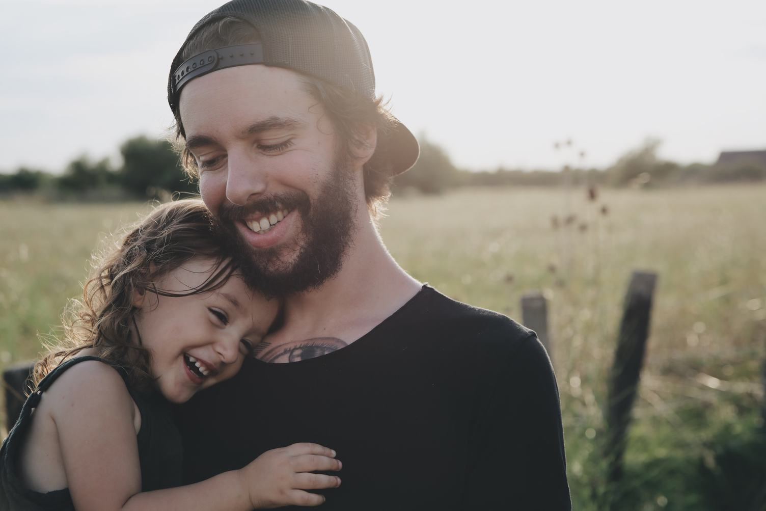 A Father and Daughter on a Meadow