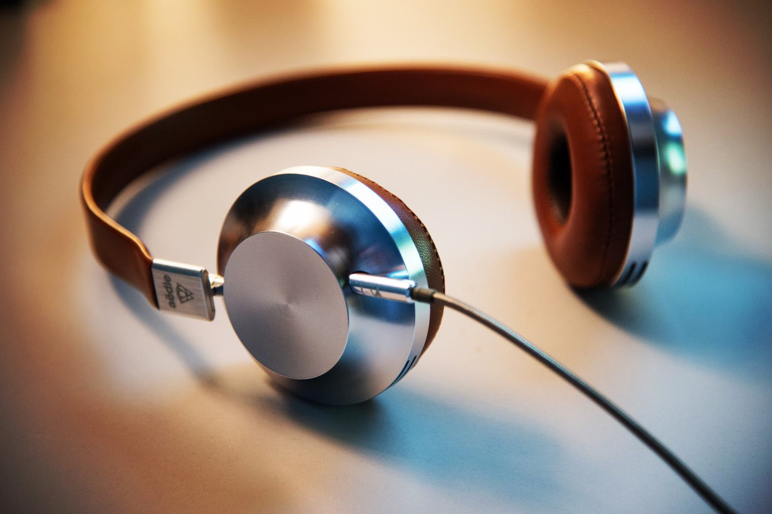 Closeup of Metal and Brown Leather Headphones
