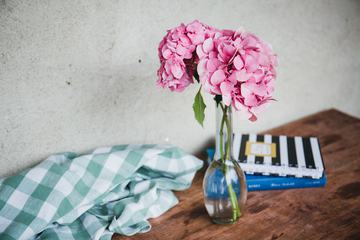 Still Life Hydrangea Books and Checkered Cloth