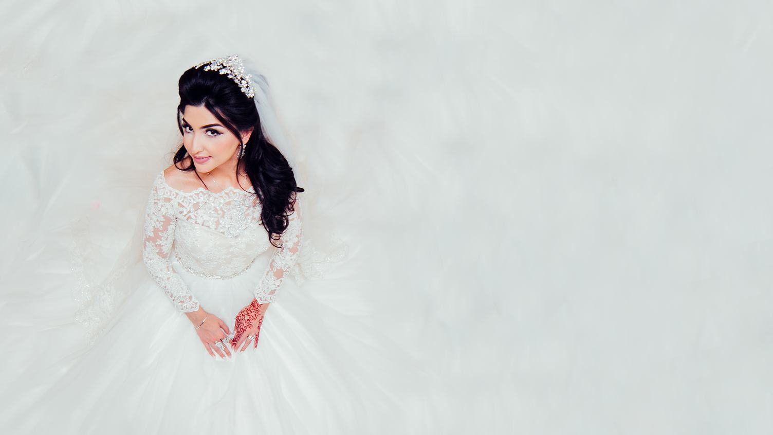 Beautiful Bride Dressed in White Dress Top View