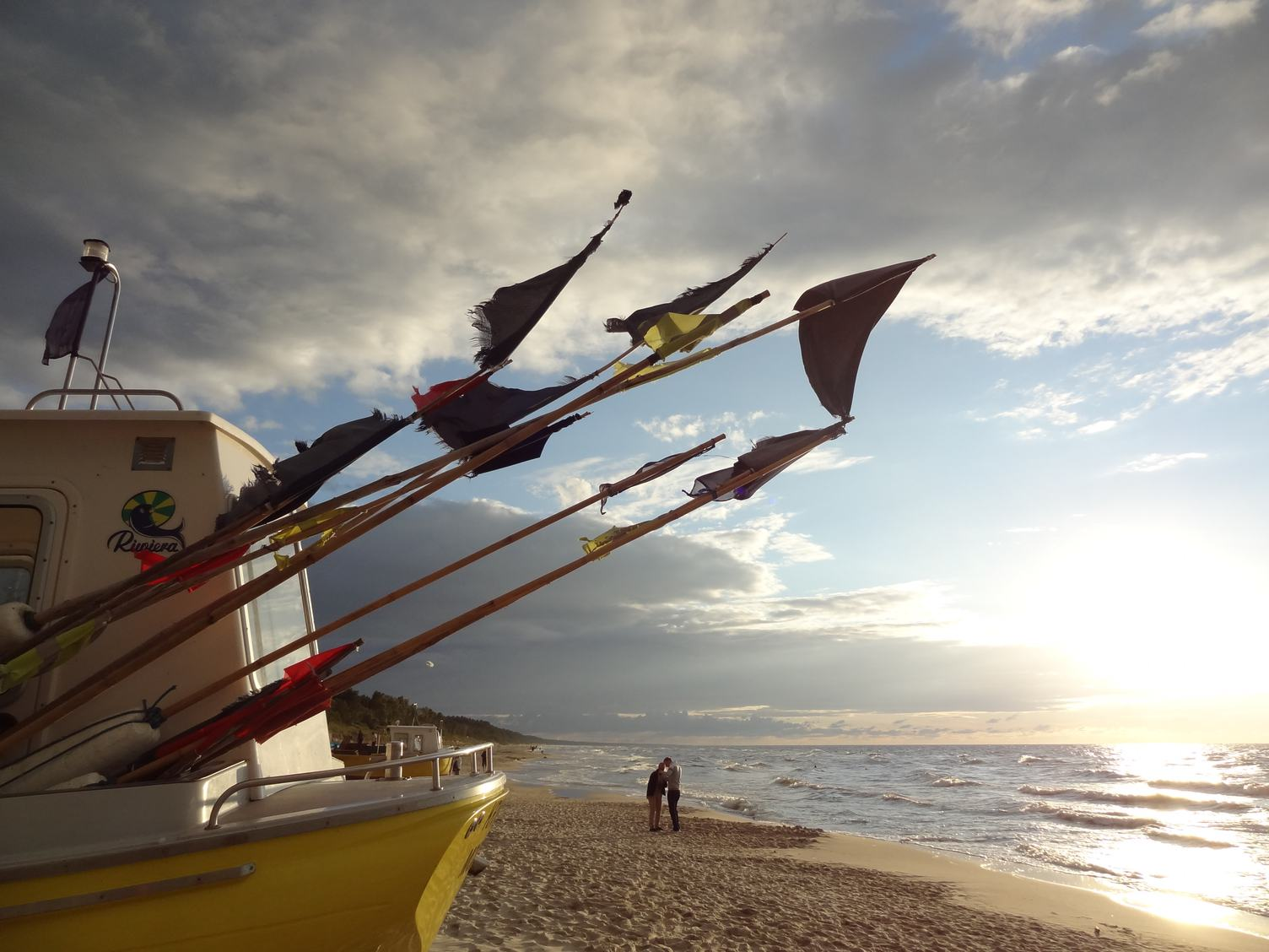 Fishing Boat on the Beach Sunset