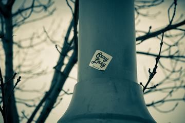 """""""Stay Lazy"""" Sticker on the Pole"""