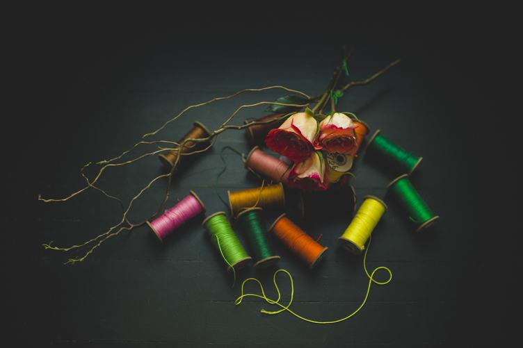 Colorful Threads with Dried Roses