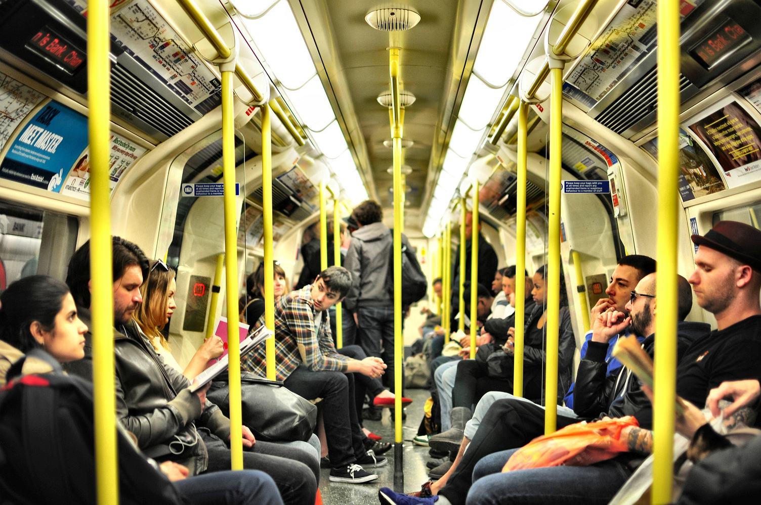 Passengers Sitting in the Subway Wagon