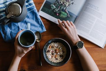 Breakfast with a Cup of Tea and Magazine