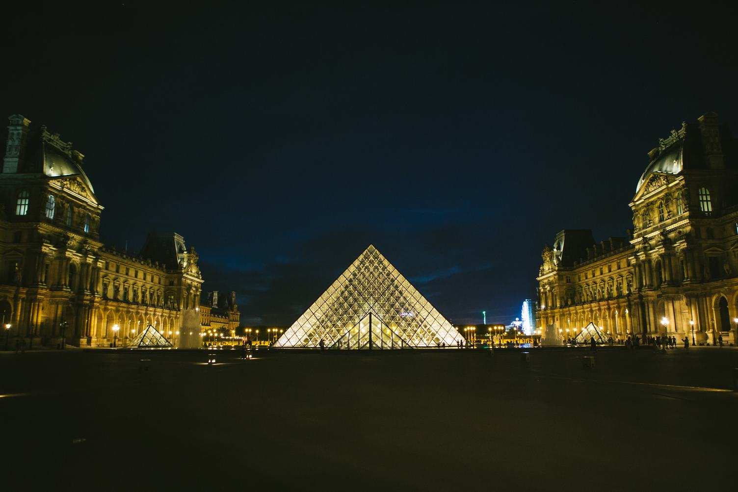 The Louvre Palace and the Pyramid by Night