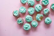 Cupcake with Mint Cream on Pink Background