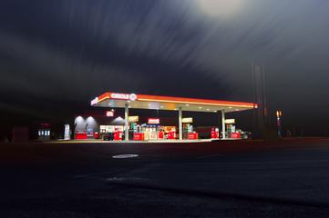 Building of Gas Station at Night