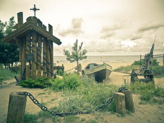 Small Wodden Chapel on a Beach
