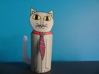 Cat Paper Toy with Tie