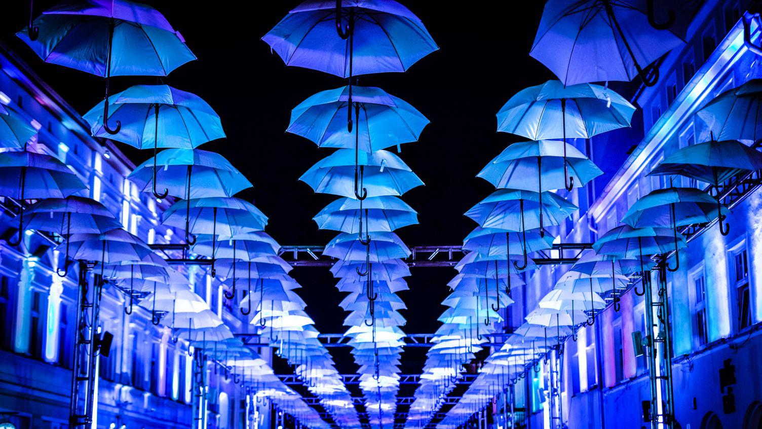 Blue Umbrellas Art Instalation